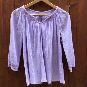 J. Jill cotton lavender lilac 3/4 sleeve top M